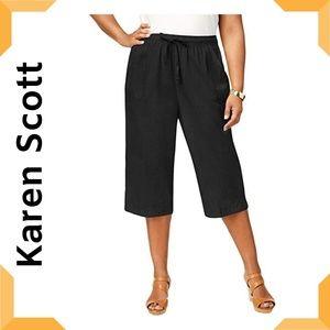Womens Plus Cotton Comfort Waist Capri Pants NWT